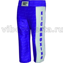 Брюки для кикбоксинга Green Hill KICK KIDS полиэстер, атлас   KBT-3628 Синий